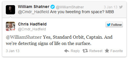 misterchuck719:  The Day William Shatner Tweeted at an Astronaut (and the Astronaut Replied)  Day = made.