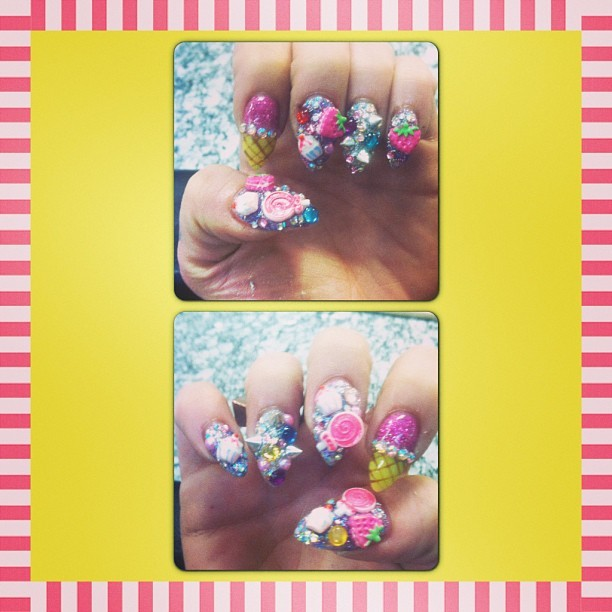 New Nails! #nails #nailsart #nailart #3dnails #icecream #spikes #gems #strawberry #cupcake #lollipop #glitter #sparkle #hotnails #hotnails (at Hot Nails)