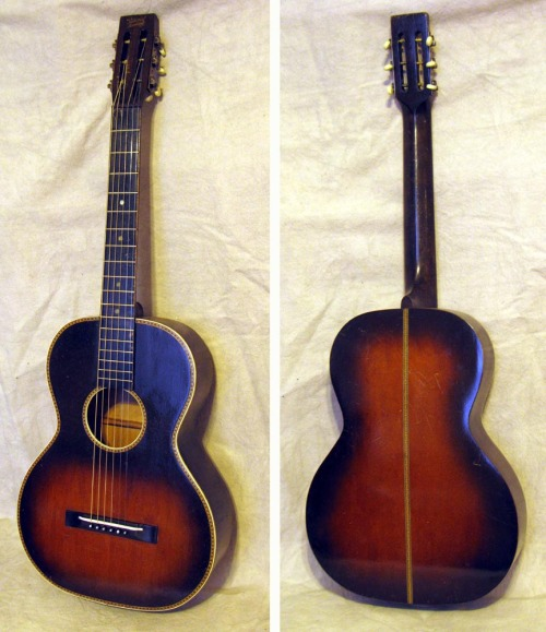 """National Academy"" Concert Guitar by Oscar Schmidt, circa 1930Excellent original condition. Sunburst  finish spruce top, birch sides and back. No cracks or playing wear!  New bone saddle, otherwise all original. Colorful inlaid wood purfling and rosette. Recent neck reset. Comes with original chipboard case."