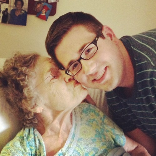 My adorable great-grandma who insisted on kissing me in the picture. Haha