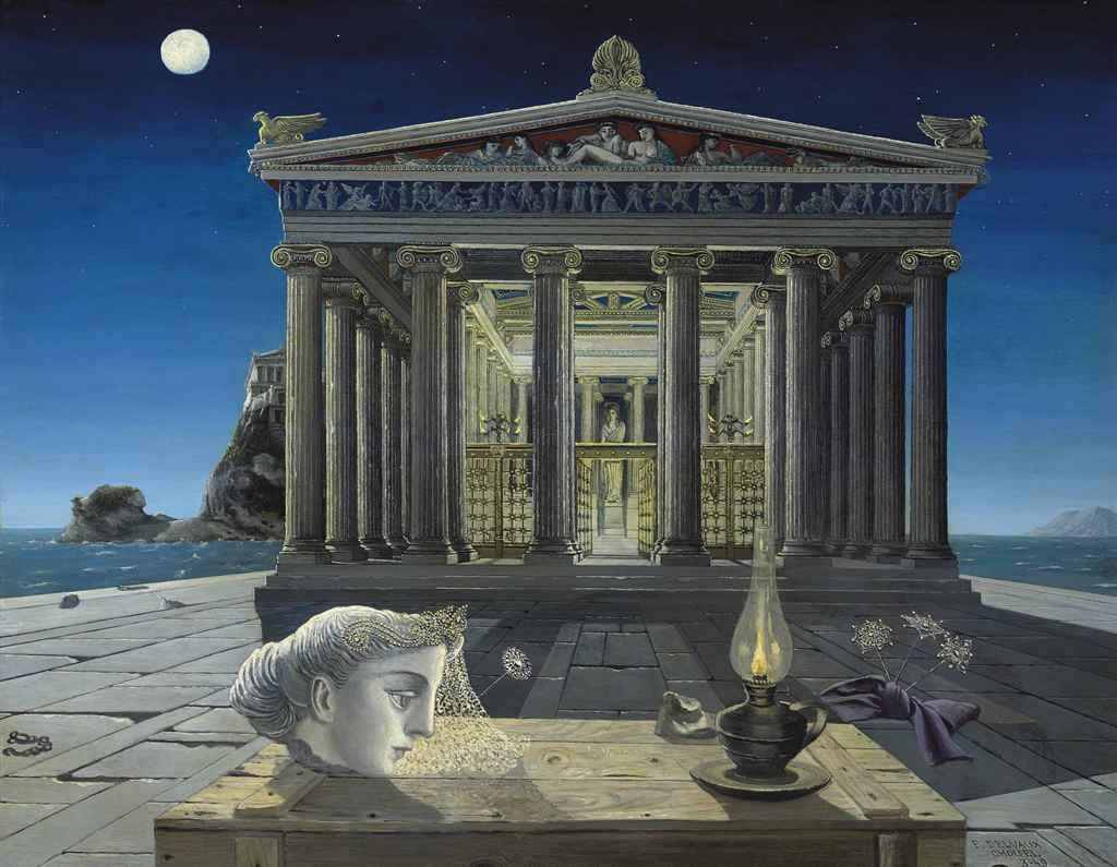 One surrealist a day le temple by paul delvaux 1949 oil for Paul delvaux le miroir
