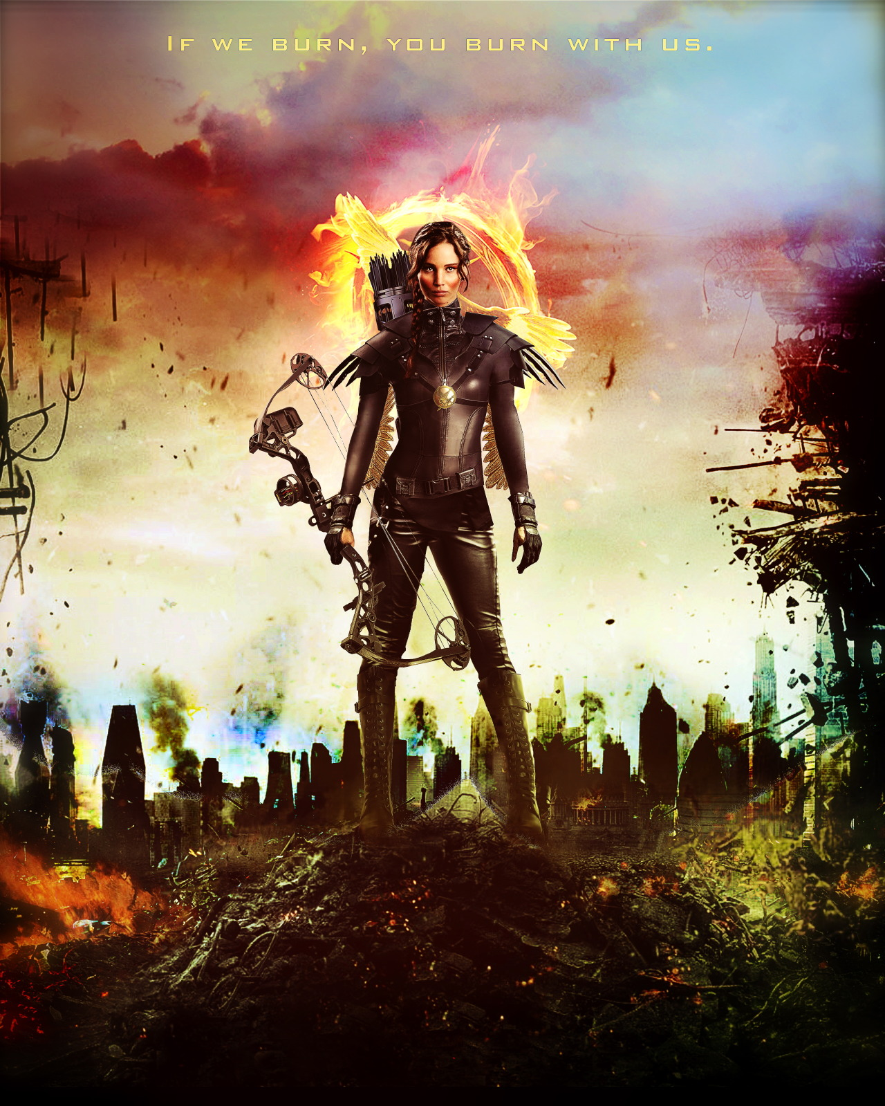 grodansnagel:  Credit for the background Mockingjay: http://maellartach.tumblr.com