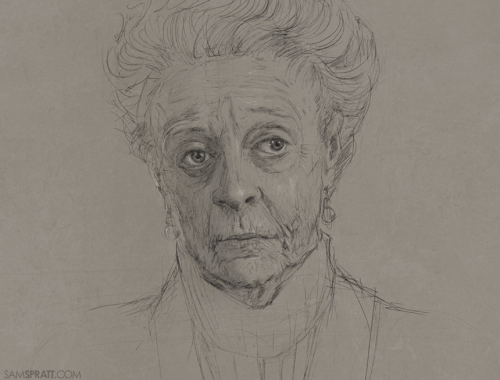 """Maggie Smith sketch"" by Sam Spratt Personally, I can't make it through an episode of Downton Abbey without feeling like I just drank a gallon of sleepy time tea, but I don't draw many old women, so I figured I'd start somewhere."