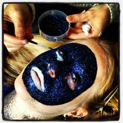 showmemakeup:  Who doesn't love a bit of glitter?! This was the process of a test run I did for a photo shoot.  This gave a whole new meaning to being 'covered in glitter!' My flat was coated for weeks.  I applied the glitter on top of latex with an old dry makeup brush.