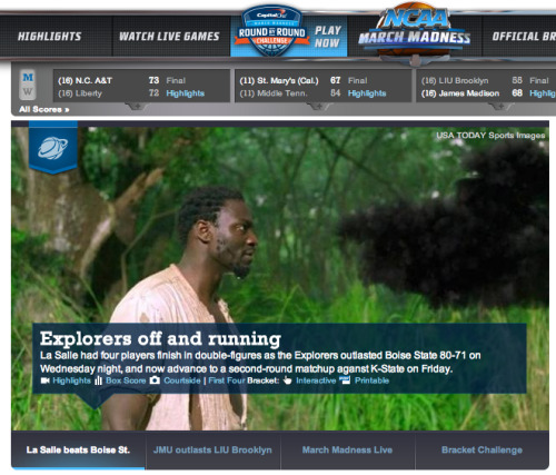 Front page of NCAA.com right now. (h/t Deadspin) Go Mr. Eko!