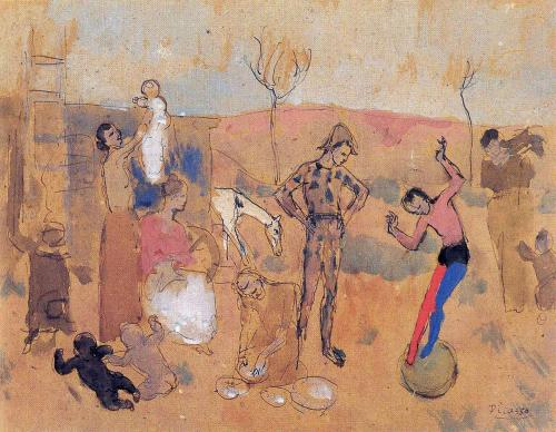 Family of jugglers, Artist: Picasso, oil painting