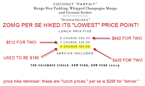 Price Tweaking: Thomas Keller's three Michelin-starred Per Se, New York's second most expensive restaurant after Masa, has increased the price of its most affordable lunch menu to $195, up $10. Service is included. That means a midday meal for two, after tax, will now start at $425, up from $403. All things considered not a heck of a big difference.  Is the new price point a BUY HOLD OR SELL? Your call, but if you're going to Per Se, might as well do the $295 option. If we look at this from a psychological perspective, you're now saving LESS MONEY by ordering the cheapest menu, thereby making the priciest option a slightly better deal from a relative value standpoint (i.e. the $295 tasting isn't THAT much more expensive).  We're cool with that.