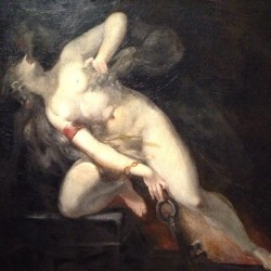 "Incredible piece at #MuseeDOrsay #HenryFuseli ""Sin Pursued By Death"" #LAngeDuBizarre"