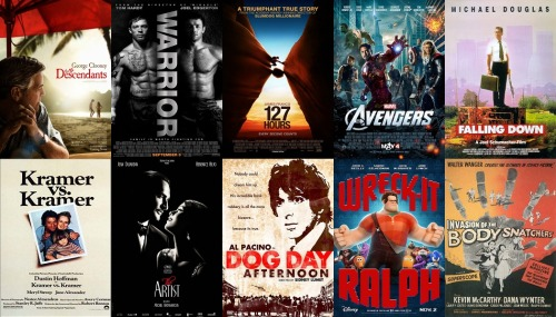10 Best Films Watched in 2012 (Excluding re-watched films) 1, The Descendants - Story, setting, music and most of all performance came together brilliantly to make a truly excellent film. 2, Warrior - A sports film which, much like Rocky, transcends its genre to be about so much more than it would seem to be on the surface. Again close to tears at the conclusion due purely to emotional exhaustion. 3, 127 Hours - A powerful piece of cinema which almost made me cry through sheer empathetic joy at the end. 4, The Avengers - Fun in every sense of the word with an absolutely marvelous cast. It's the stuff you go to the movies for. 5, Falling Down - A wonderfully cathartic release from all the day to day minutia of societal and conventional norms. One of Michael Douglas' finest performances. 6, Kramer vs Kramer - A great example that you don't always have to go big to make an impact. The most real looking take I've seen dealing with the fallout of divorce. 7, The Artist - A superb love letter to the silver screen's early years. Maybe a little over-hyped at this point but still a solidly entertaining watch. 8, Dog Day Afternoon - The limited locations combined with the powerhouse performance of Pacino kept the tension high and the story captivating. 9, Wreck-It Ralph - Loved this film: Great characters, great message and great cameos. An all around enjoyable watch. 10, Invasion of the Body Snatchers (original) - The creepy premise and the uneasy undercurrent of the whole movie mixed with the American 50's setting made for a fantastically unnerving film.