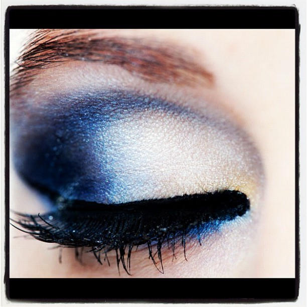 showmemakeup:  Love this petrol Blue eyeshadow from Sleek Makeup. I used it to create a smokey Blue eye during a shoot.  Here is a close up of it!  Makeup
