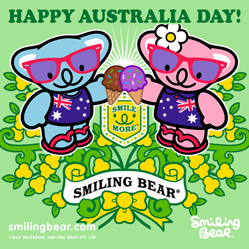 Happy Australia Day 2013! Smiling Bear is one great big happy head today, and can't wait to celebrate with his best buddies. So where ever you are, even if it's overseas (and you're not even Australian!) be happy with us and #SmileMore :D http://bit.ly/SB_AUD2