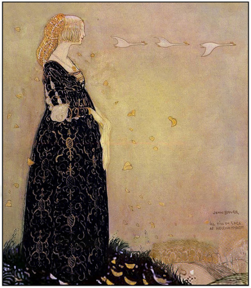 "numanbaba:  John Bauer's Illustration for the book ""Svanhamnen"" (The Swan Suit) by Helena Nyblom.  Helena Nyblom was a Danish author as well as a poet who lived from 1843-1926 and was married to a Swede, thuse spending her adult life mostly there though at least her first published works were originally written in Danish and then translated by her husband. She's most well known for her fairytales, of which The Swan Suit is one. [note: The English article is rather misleading, I recommend checking out the Swedish version.]"