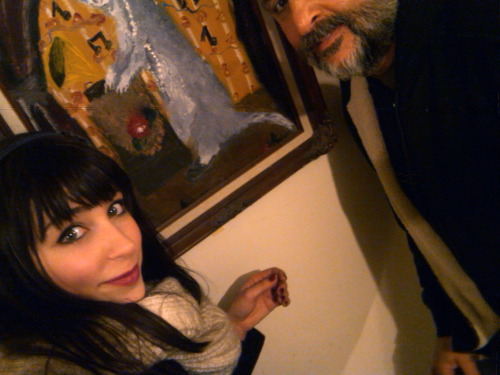 Dad and I with the weasel painting.