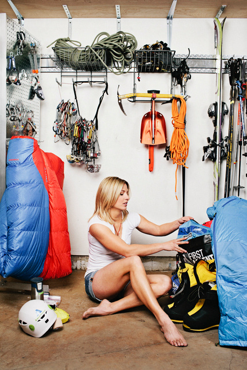 "benjaminrasmussen:  Melissa Arnot packing for her attempt at a 5th Everest summit. Shot for Outside. Ketchum, ID (2013) I shot Melissa for Outside in mid March, a few days before she left for Everest. She was in the news this week for breaking up a fight on the mountain between foreign climbers and a group of Sherpas. She is a total badass, but having talked with her about her relationship with different sherpas, I imagine that she is cringing at the negative and one sided story coming off the mountain. And there is a lot of wisdom in what she wrote about the incident on her blog: ""I am sad for the events of the last week. I am hopeful that the adventure ahead will be one of collaboration, support and rebuilding the relationship of trust between everyone who has chosen to be here."""