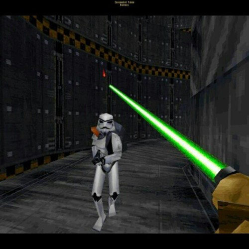 taureans:  Kyle Katran vs imperial trooper in the classic #1998 game #jedi knights by #lucasarts #games #nostalgia