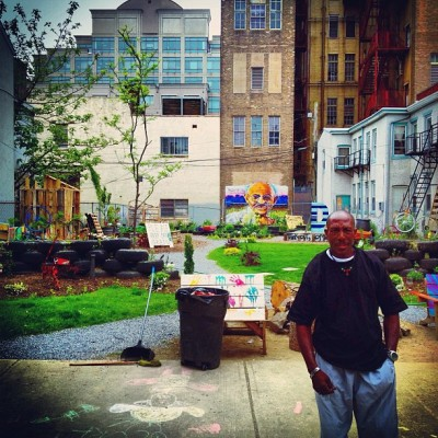 The Gandhi Garden [a project started to beautify a Trenton neighborhood] #trenton #trentonnj #newjersey #nj #iphoneonly #mural #urban #gandhigarden #sagecoalition  (at Trenton)