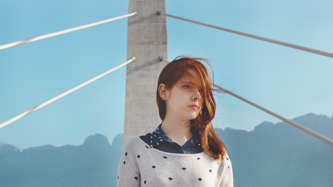 A portrait by dae88:  A chromatic study on red hair and turquoise skies. ×