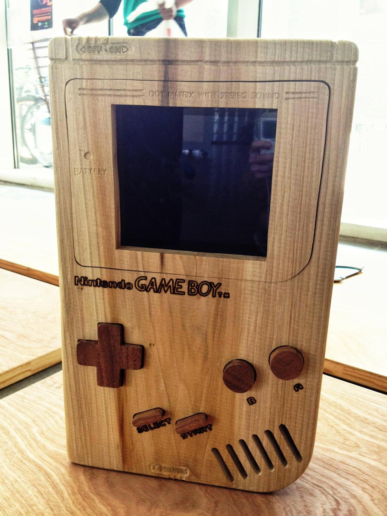 gamefreaksnz:  Dear Reddit, Please meet my pride and joy: My wooden Gameboy. I'm currently wiring the game to the buttons, so it will be 100% playable within a few weeks.