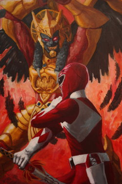 8bitmonkey:  Kevin(DA)  I wanted to see the red ranger dueling Goldar/Grifforzor in a more classic samurai sword stance. I even used 13 Assassins as a starting point for the poses.