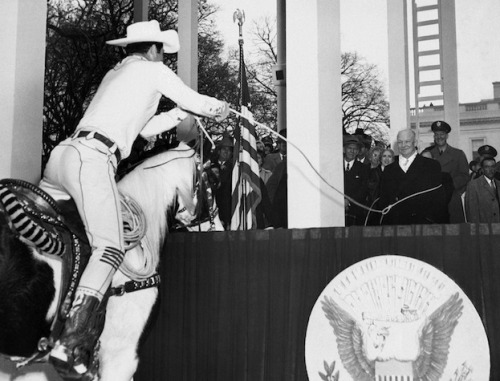 theatlantic:  President Eisenhower Was Lassoed at His First Inauguration Take a look inside a photo album of inaugurations past. [Image: AP]