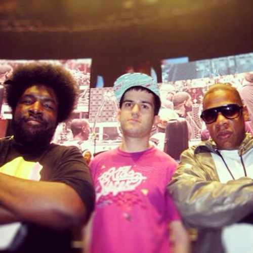 #TBT @atrak in the middle @questlove #jayz #seancarter #hova #jay-z  #atrak #foolsgold #rocnation #questlove #okayplayer #hiphop #djs #drums #livemusic #winning cc @baddiebey
