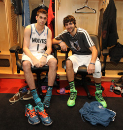 Shved and Rubio sport their flashy kicks for the BBVA Rising Stars Challenge. (Photo by Nathaniel S. Butler)