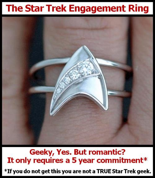 The Star Trek engagement ring… Geeky, yes. But romantic? It only requires a 5 year commitment.* *If you do not get this you are not a TRUE Star Trek geek.