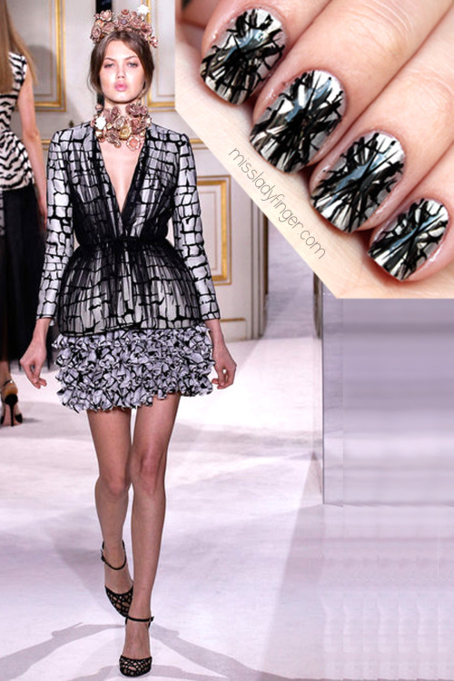 MANICURE MUSE: Giambattista Valli Couture Spring '13 Grab a glass of champagne, snack on a macaron, blast some Yelle, and enjoy Paris Couture Week with me. First of the couture collections to turn into a couture Ladyfinger: Giambattista Valli…