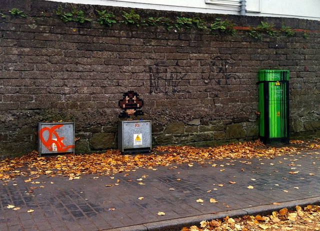 Daily Graffiti Goomba & Electric Box Warp Pipe submitted to our Geek Graffiti Flickr pool. Check out Albotas.com's Daily Graffiti Archives for more geektastic street art!