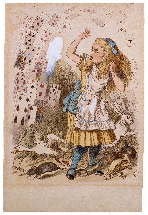 "centuriespast:  John Tenniel (1820–1914)Sir John Tenniel's hand-colored proof of Shower of Cards for The Nursery ""Alice"", ca. 1889,by Charles Lutwidge Dodgson (Lewis Carroll)  The Morgan Library"