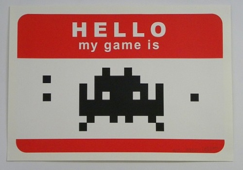 Hello My Game Is … (Red) - Invader 2009 Invader was based in Paris, he uses a lot of pixel type media in his work, he's famous for his mosaic pieces of the 1970 game Space Invader (from which he took his name).