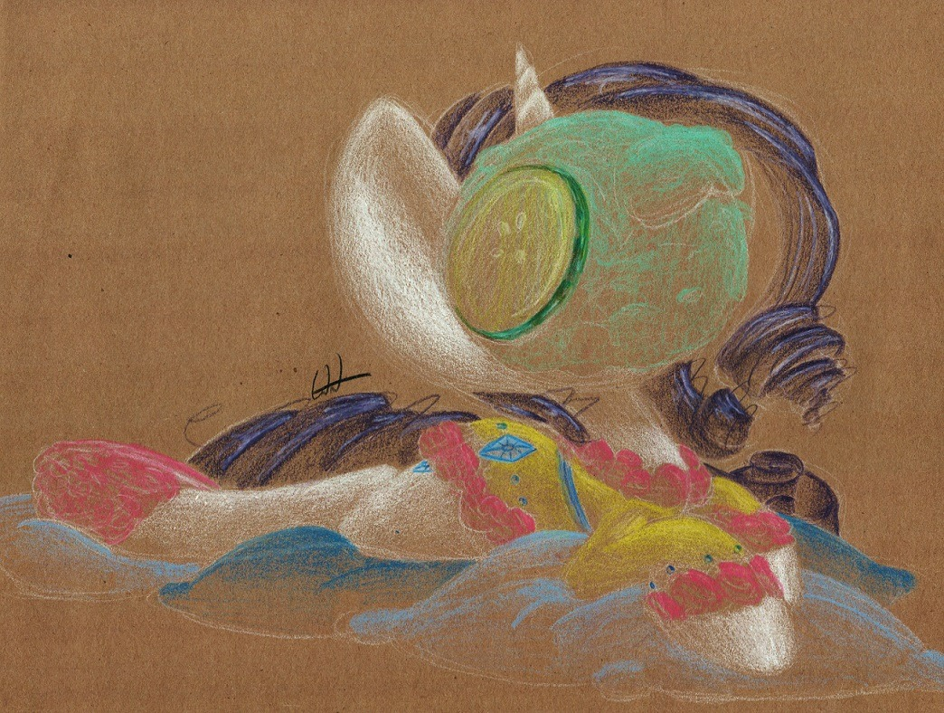 getchanoodlearts:  A doodily oodily of Rarity at the spa. Cucumber slices are hard to draw.