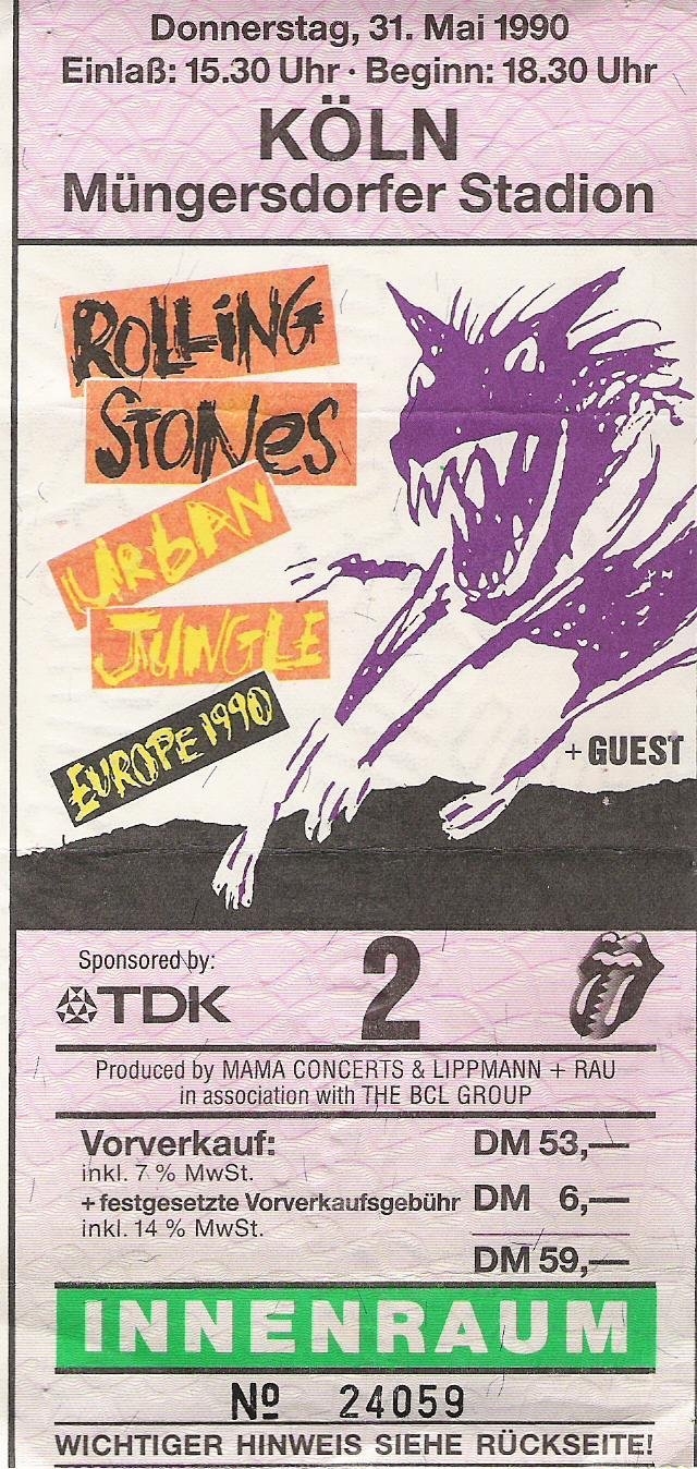 Concert tickets from the past: The Rolling Stones - Urban Jungle Tour 1990, Cologne, Germany Woahhh, from the days that The Stones weren't a parody of themselves haha.