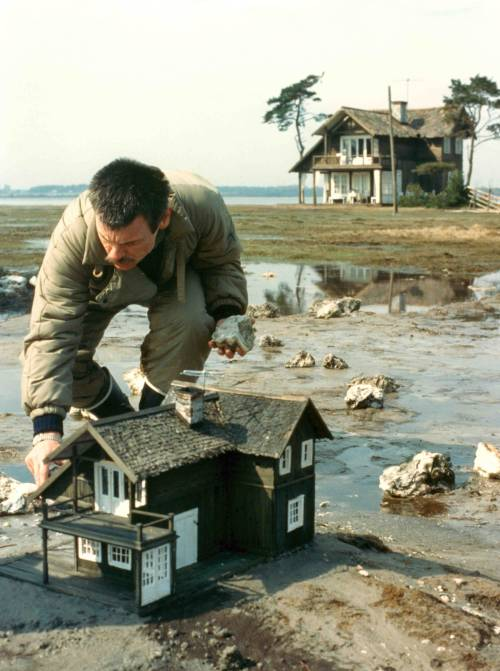 keyframedaily:  Tarkovsky at work on The Sacrifice (1986).