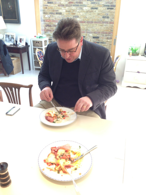 """Harpers Editor eats World's Best Breakfast.""  Prior to heading off on a field campaign to corner all the West of England drinks scoops in one day, with Angela Mount, Madeleine Waters, Bryony Wright, and a guy called Matthew Clark, apparently, Richard Siddle sat down to Joe Wadsack's now famous, Mount Lofty Bacon and Caper stack.  ""I didn't want it to end chief. It's the nicest thing I've ever eaten."" said experienced breakfast-eating  Scouser."