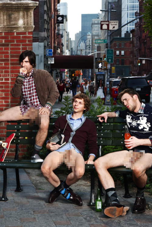 shialablunt:   Jason Schwartzman, Michael Cera, and Chris Evans for GQ Magazine  Michael Cera has surprisingly nice legs.  oh chris.. :3