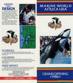 In 1986, Marine World re-opened in up in the North Bay in Vallejo after re-locating from Redwood Shores on the Peninsula. More pics from this brochure here.