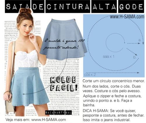 saia de cintura alta by hsama featuring short skirts