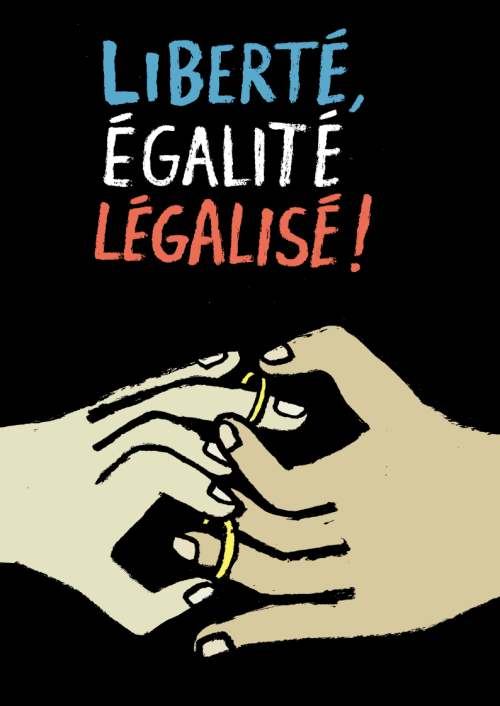 newsofthetimes:  France legalize gay marriage! hurray! Illustration by Jean Jullien, read the related article.