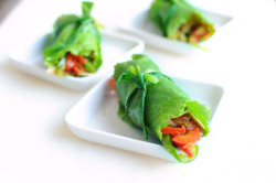 aperture24:  romaine wraps with spicy vegetables. think fajitas flavors ! :-)