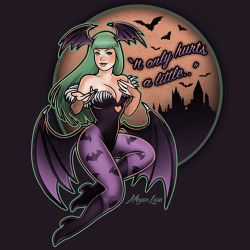 """It only hurts a little…""Fun little pin up I did of Morrigan! <3Buy the shirt at Redbubble!"
