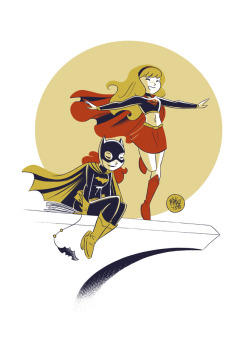 Another Batgirl/Supergirl commission.
