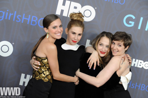 womensweardaily:  Lena Dunham and Co. Toast 'Girls' Season Two Allison Williams in Altuzarra, Zosia Mamet in Lanvin, Jemima Kirke in vintage Geminola and Lena Dunham in Valentino.   They all look gorg!