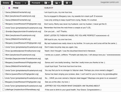 lowgarden:  Joffrey's Inbox, circa ASOS Requested by: anonymous and crazymagicalbroad