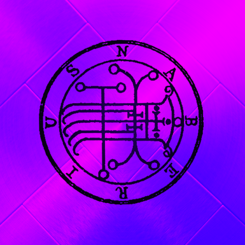 naberius demon demonology occult spirit goetia crowley thelema magick witch sigil art creative aesthetic digital minimal violet purple silver geometry circle honor poema poetry writing prose thoughts words courage confidence