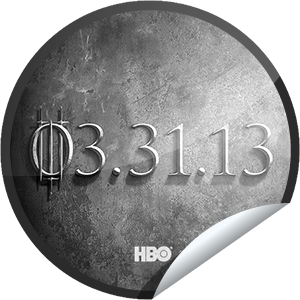 I just unlocked the Game of Thrones Season 3: 3/31/13 sticker on GetGlue                      40497 others have also unlocked the Game of Thrones Season 3: 3/31/13 sticker on GetGlue.com                  Game of Thrones Season 3 premieres 3/31/13 on HBO.  Meet the new characters. Share this one proudly. It's from our friends at HBO.