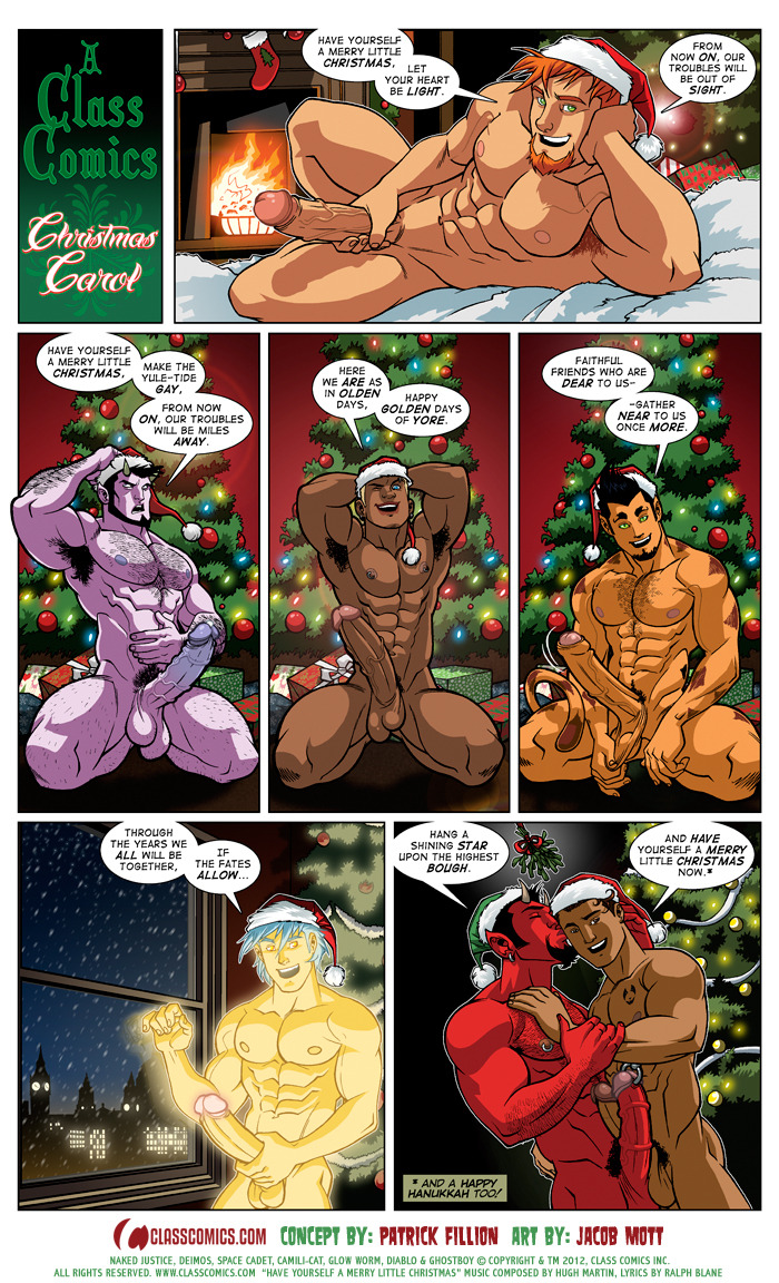 classcomics:  Seasons Greetings, everyone! Fraser, all the Class Comics creators and I just want to wish all of you and yours a very HAPPY HOLIDAY SEASON. We are so grateful for your continued enthusiasm and support of us and our comics, and you are all greatly appreciated. We hope that the Boytoons of the Class Comics Universe will keep you nice and warm throughout the Holidays, and we wish you all an AMAZING 2013! We'll have more awesome comics and goodies for you in the New Year, so come back and see us soon. Warm Holiday Hugz + kisses to you all…  Patrick + Fraser XOXOX PS — And just in case you missed it, here is the December 2012 STRIPSHOW episode, by Patrick Fillion and Jacob Mott. All characters are © Copyright & TM 2012, Class Comics Inc. All rights reserved.