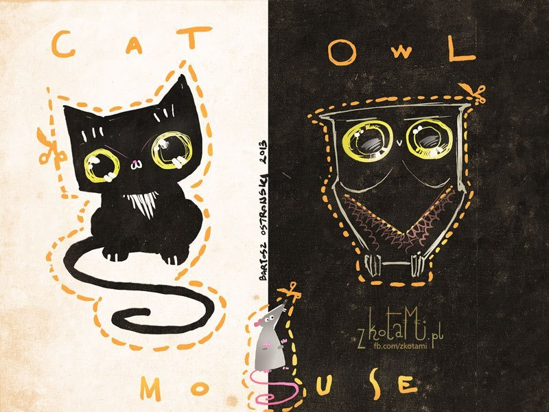 Owls are flying cats! Illustration by ©Bartosz Ostrowski