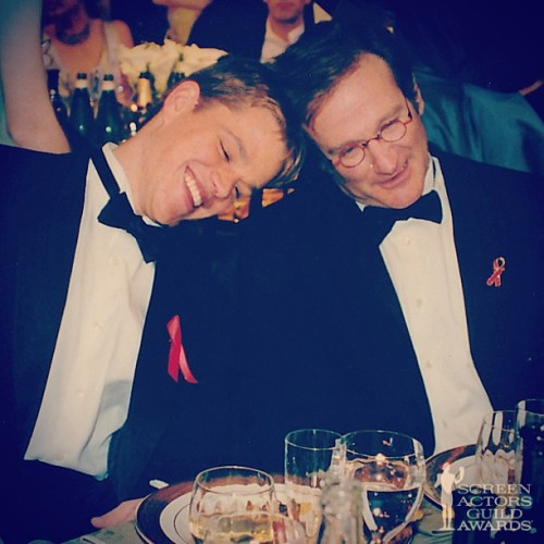 Matt Damon and Robin Williams at the 4th Annual SAG Awards  in 1998 #sagawards #goodwillhunting #tbt