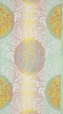"""Unused [wallpaper] sample. Large foliate pattern with large medallions comprised of a lacy floral background pattern. Printed in white, three greys, yellow and rust on a matte ground of green, mauve, and yellow. Zuber et Cie."" Ca. 1815-1825. Via."